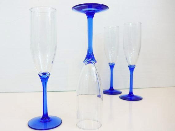Where to find Glass, Champagne Flute Blue in San Dimas